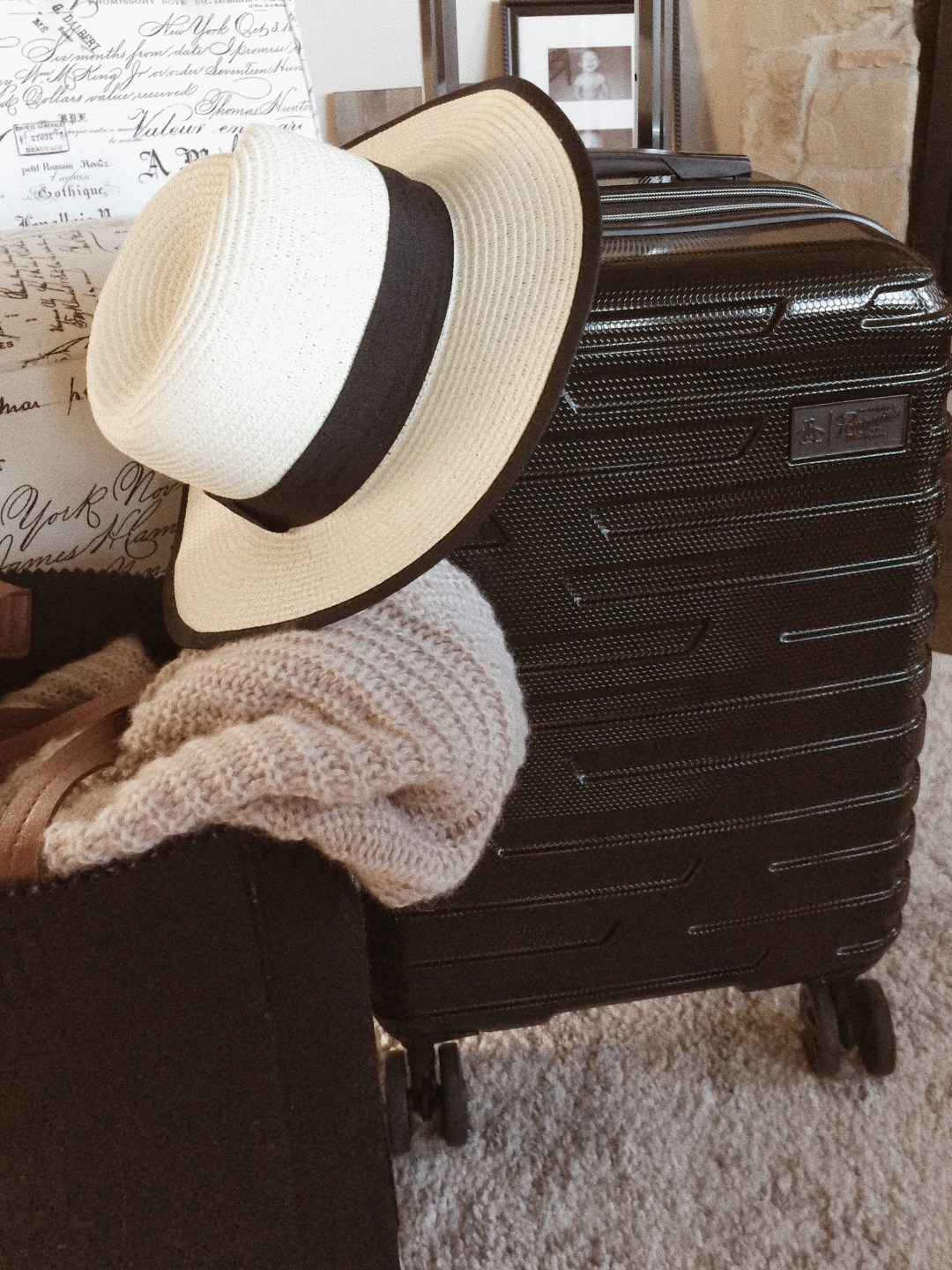 luggage, penguin luggage, straw hat, cardigan, tote bag, packing essentials