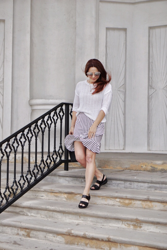 comfortable footwear, outfits with comfortable shoes, black sandals, classic style, striped skirt ideas, styling with walking shoes