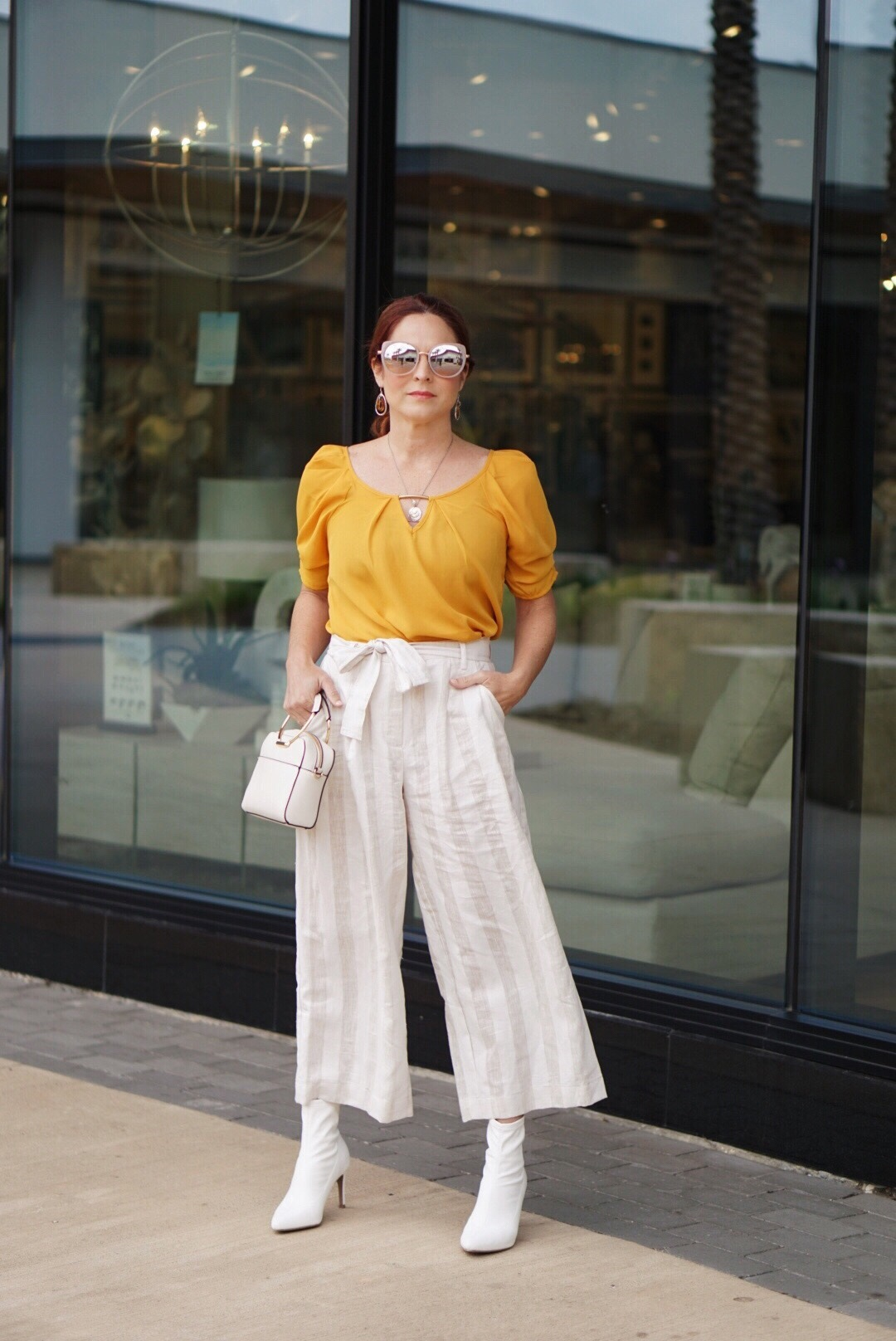 how to style culottes, flattering pants, paper bag waist, mustard yellow top, target handbags, white sock booties, target style, red hair inspiration, culotte outfits