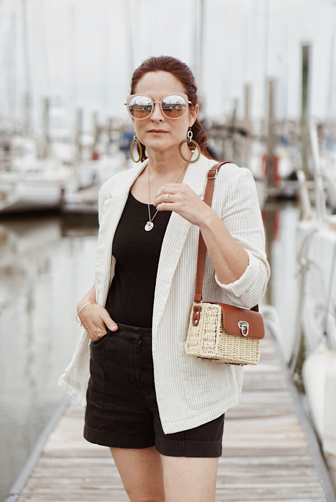 nautical style, blazer inspiration, summer style, black shorts, basket bag, styling with neutrals