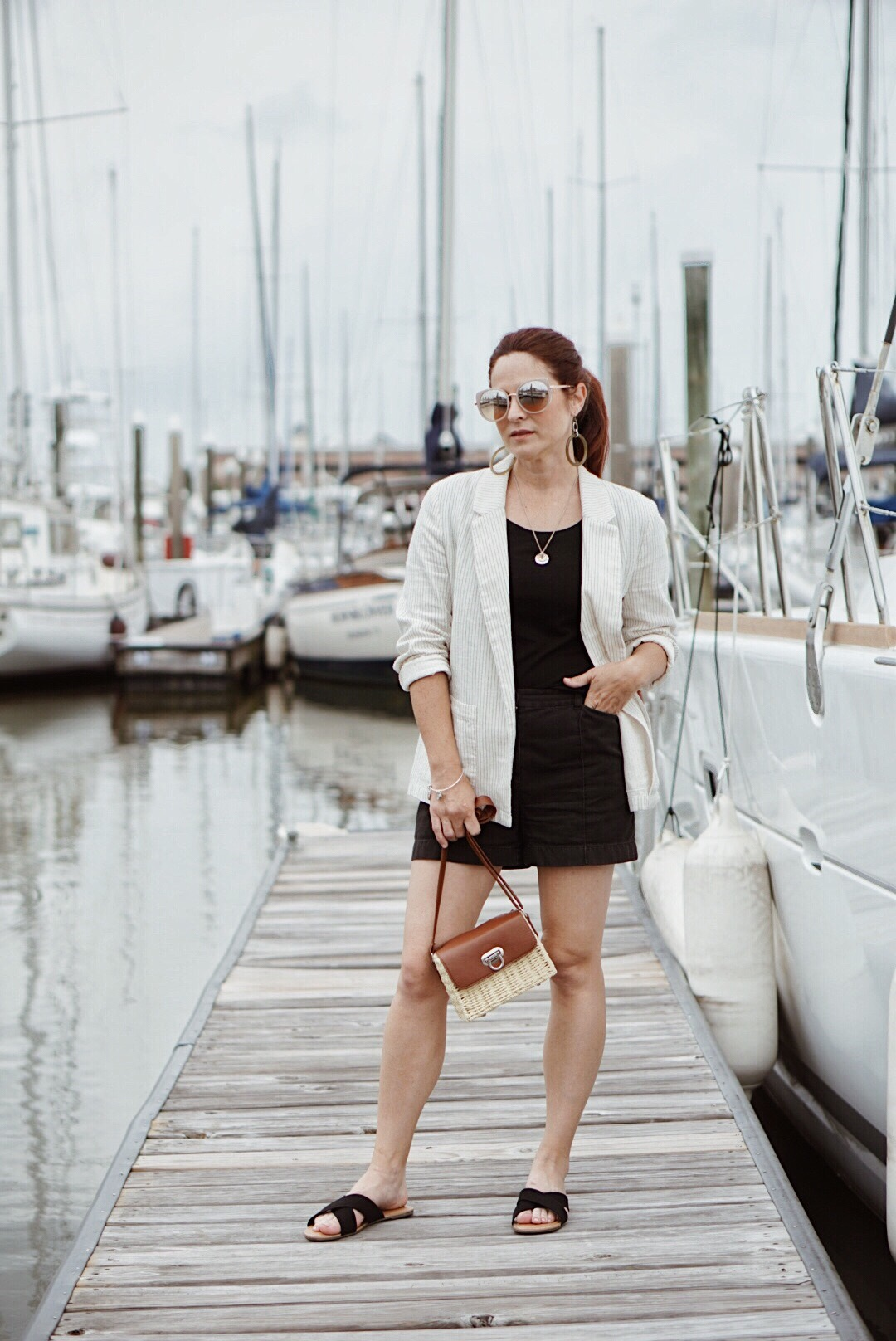 summer style, blazer outfit inspiration, pinstripes