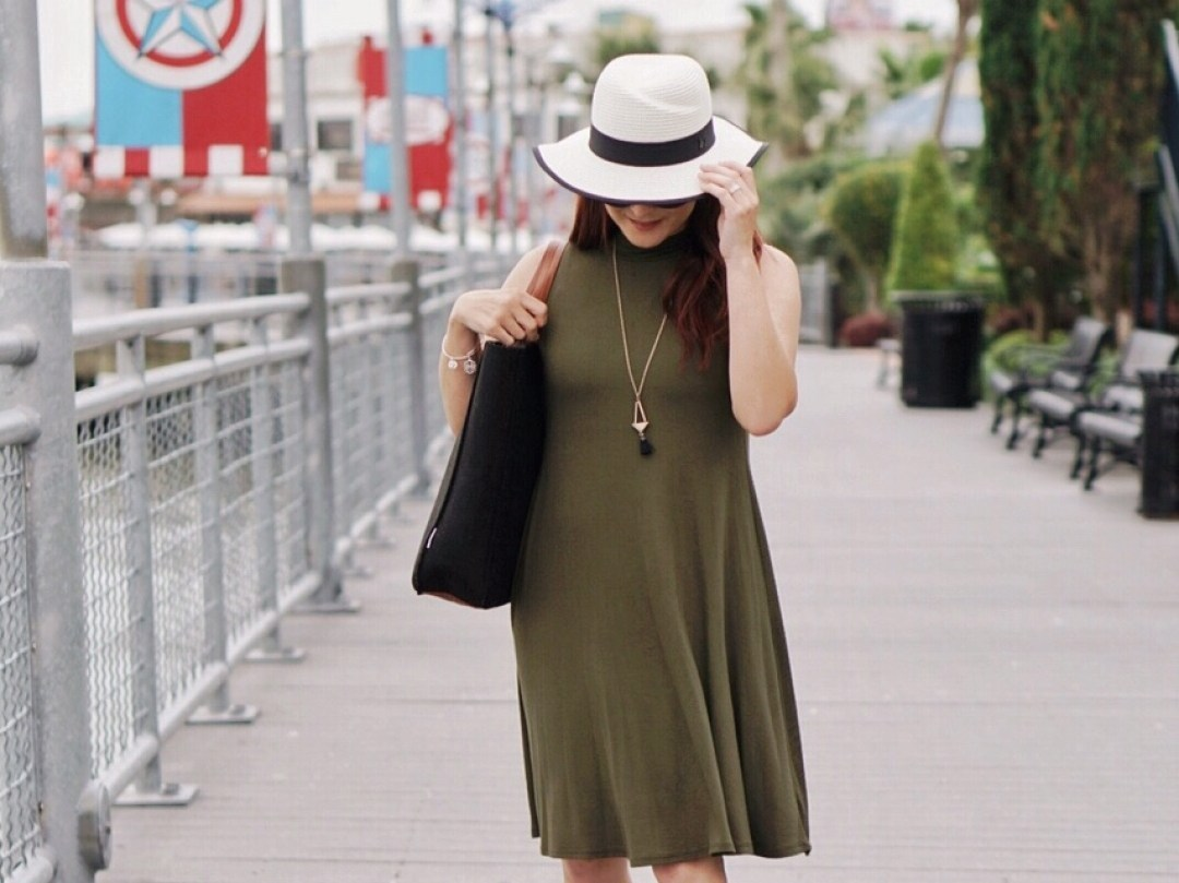 jersey knit dresses, olive green dresses, simple style, outfits with hats