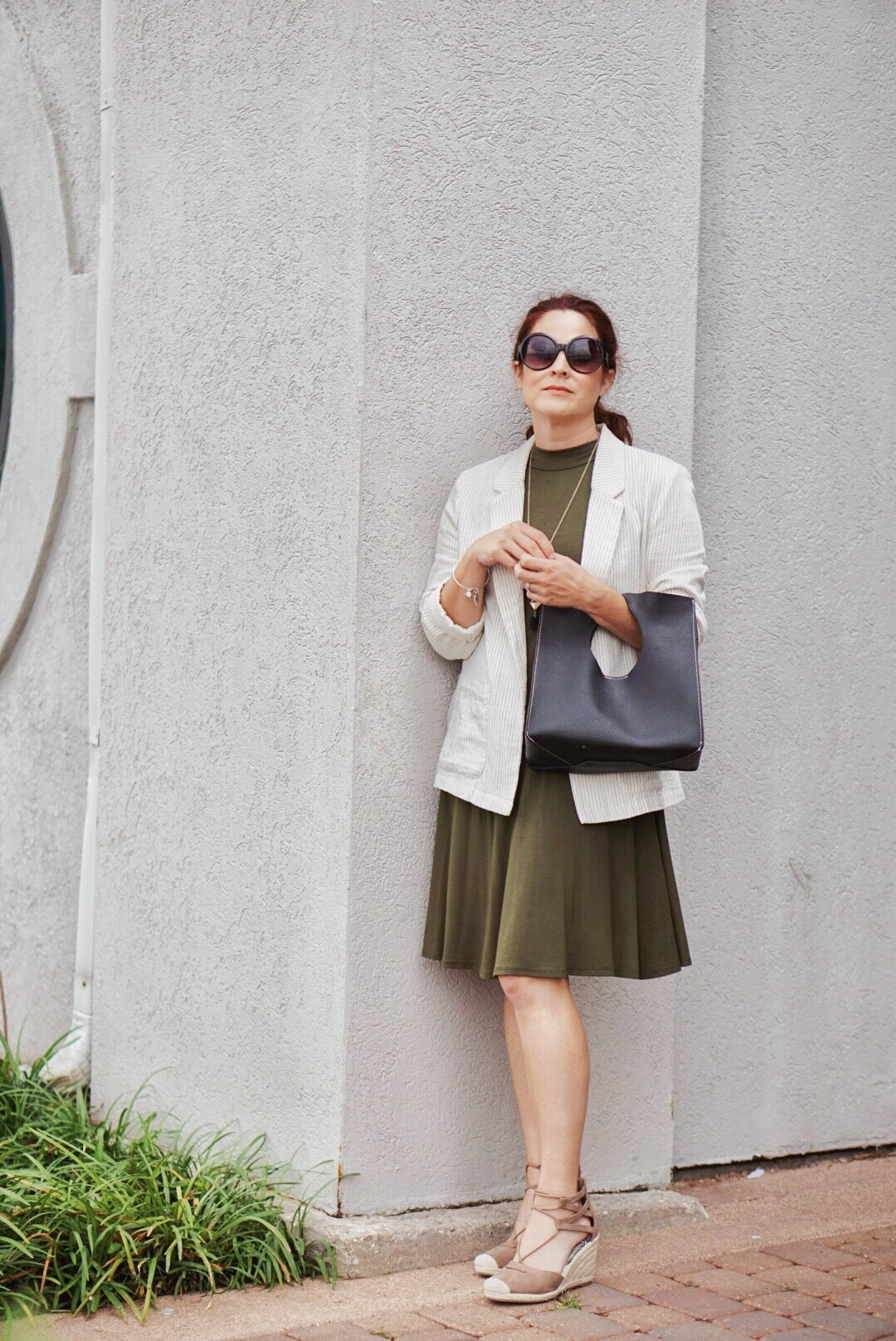 summer to fall style inspiration, transitional styling tips, summer blazers, olive green dresses, wedges, blogger survey