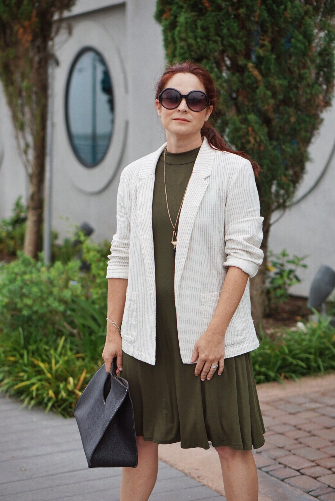 what to wear under a blazer, business casual fashion, how to style a blazer in the summer, how to style a blazer with a dress,