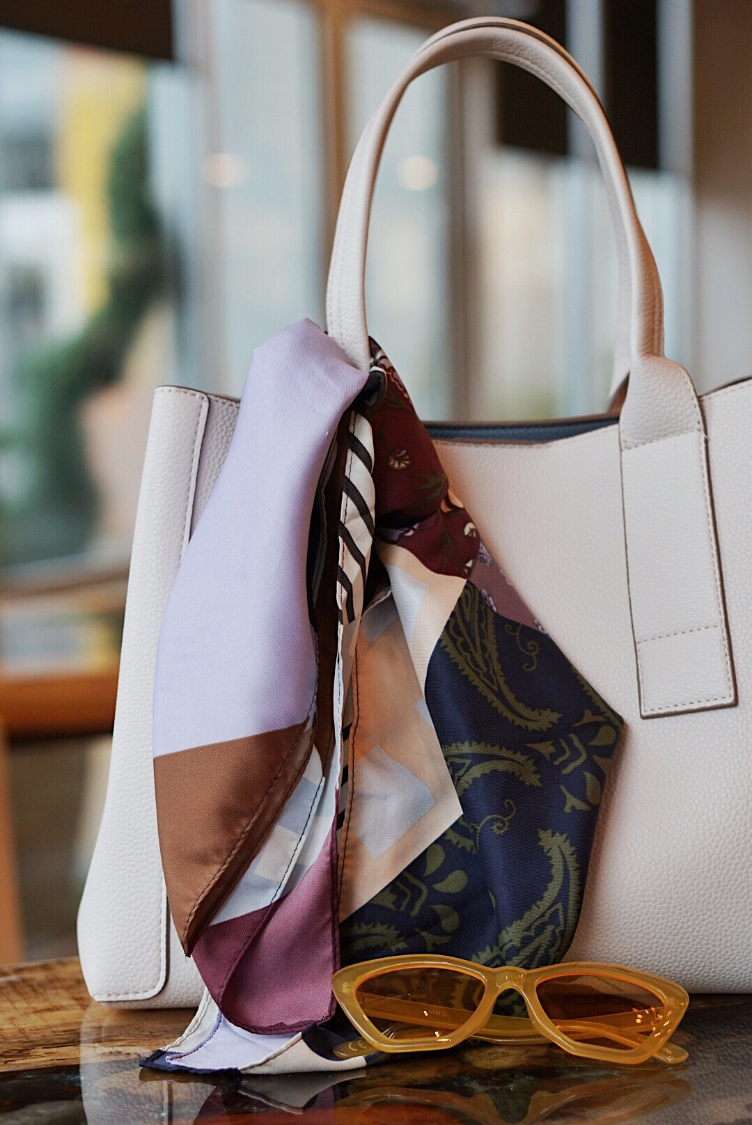 white tote, silk scarf with jewel tones, cat eye sunglasses, summer to fall accessories, fall fashion in the south, how to accessorize for a mild fall season, summer to fall accessories