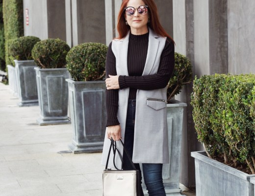 vest outerwear, business casual outfit ideas, how to wear vest outerwear, sleeveless jack outfit ideas, Michael Kors black pump, comfortable heels