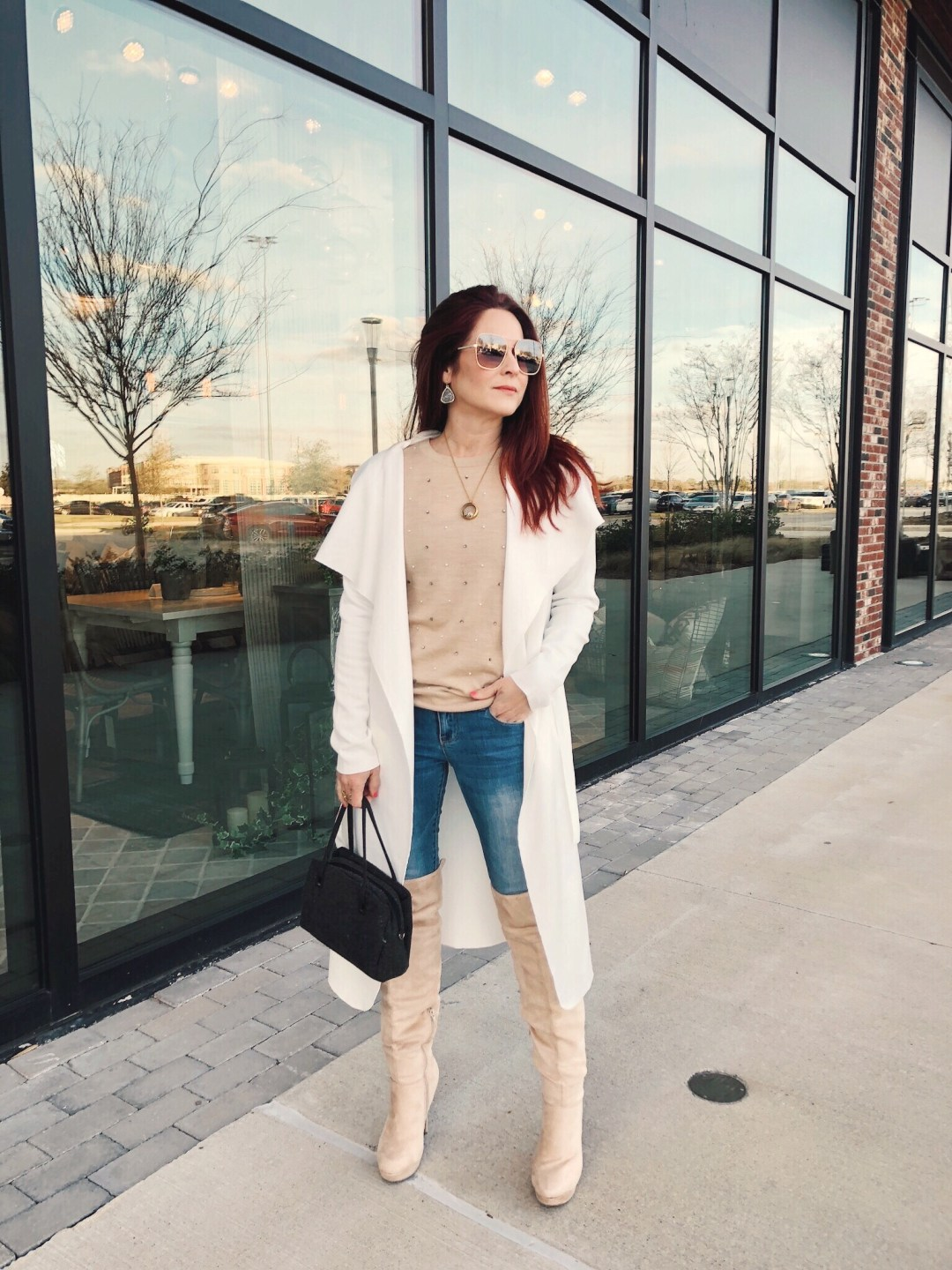 duster wrap coats outfits, cream over the knee boot outfit inspiration, blush sweater outfits, quay sunglasses, chic outfit ideas