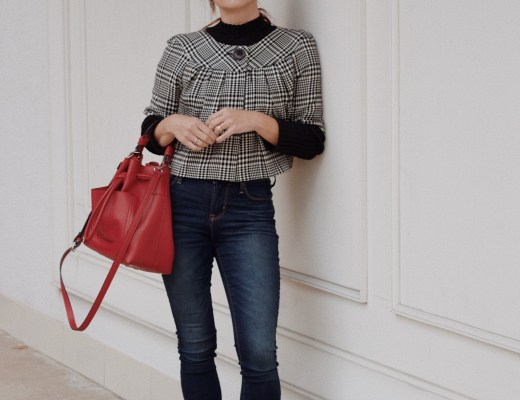 how to style houndstooth, casual houndstooth outfit, houndtooth jacket, classy casual style ideas, red bucket bags