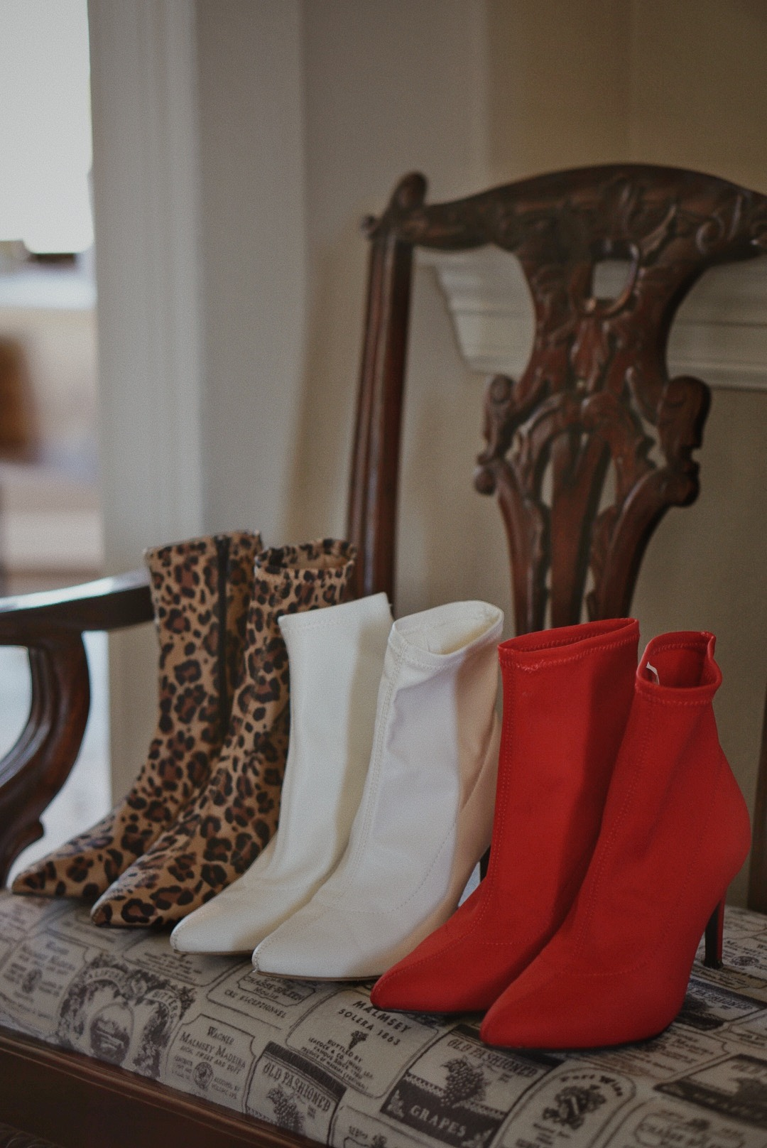 sock booties, leopard boots, red sock boots, white sock bootie outfit inspiration