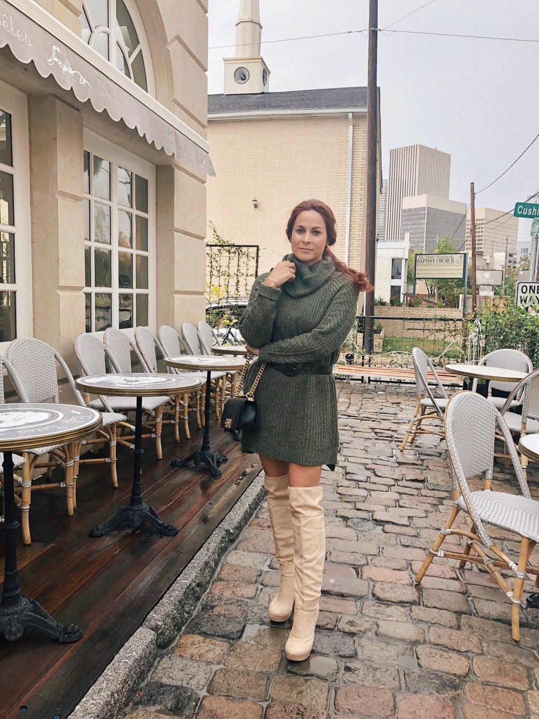 over the knee boot outfits, sweater tunic with boots ideas