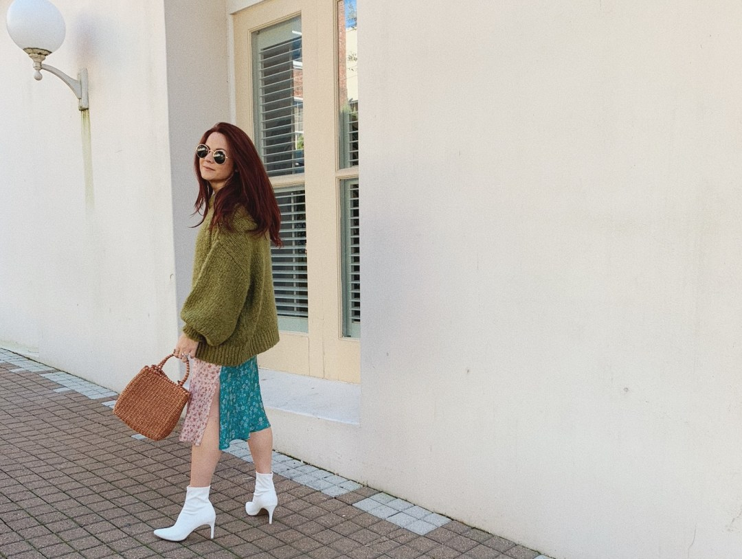 spring day outfits, wicker bags, white boot outfits, sweater and dress outfit ideas, patched silk dress