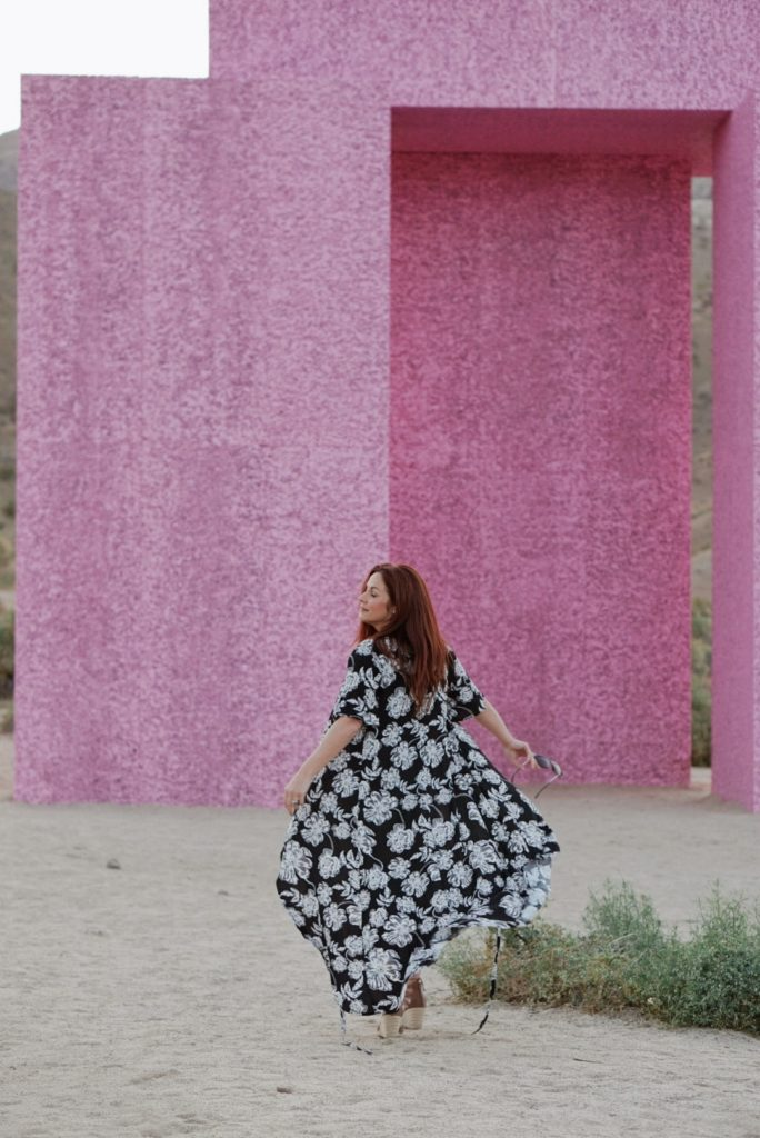 floral print dresses, pink walls in California, how to be carefree