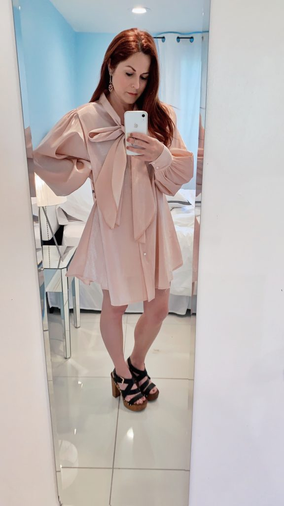 mirror selfies, pink satin dress outfit, sandal clogs, dresses with bows