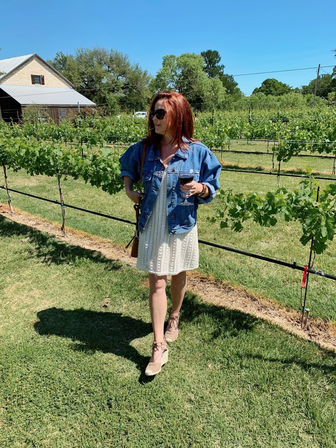 wine country, wineries, travel, places to visit Fredericksburg, denim jacket outfit ideas, zara dresses, wedges, hill country, Texas Wineries