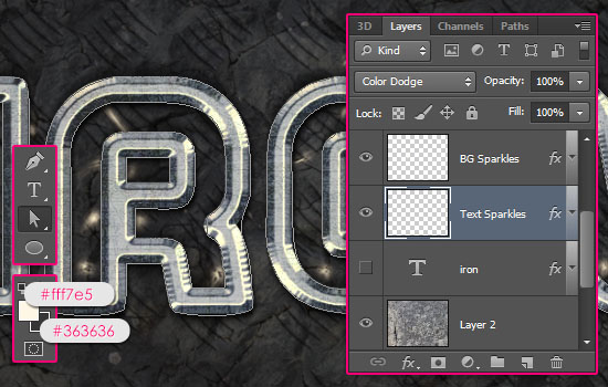 Sparkling Iron Text Effect step 10