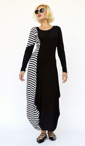 striped maxi dress