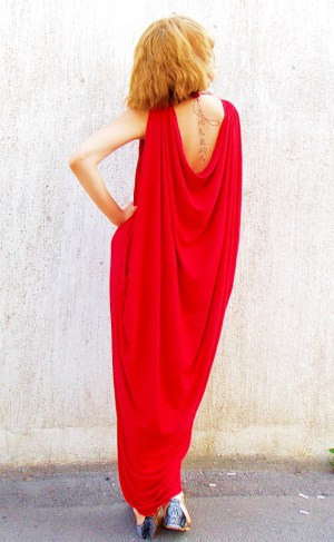 red asymmetrical loose kaftan