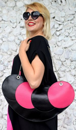 extravagant black and fuchsia tote