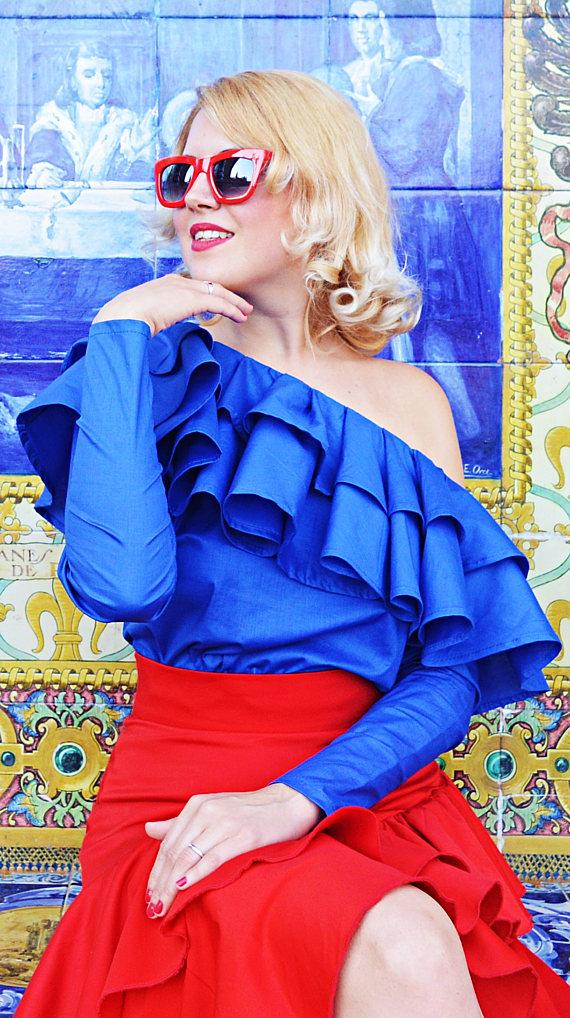 blue ruffle top