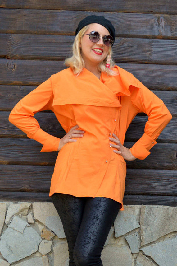orange cotton blouse