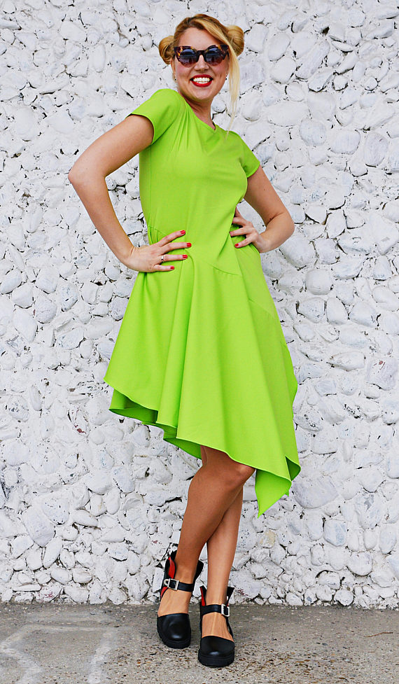 asymmetrical lime dress