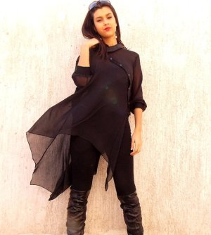 black asymmetrical chiffon tunic