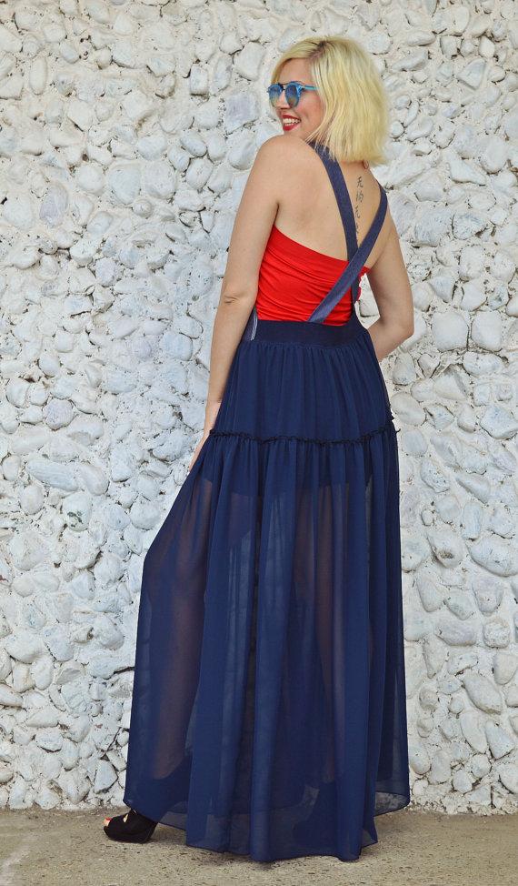 backless navy dress