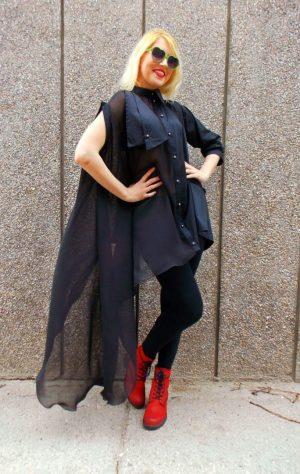 black asymmetrical shirt
