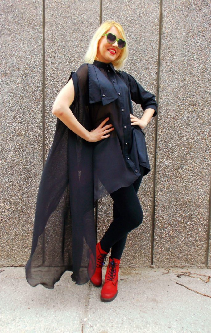 black asymmetrical shirt