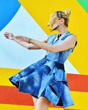 patchwork denim dress