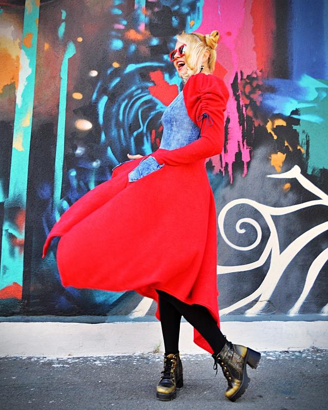 red fall dress