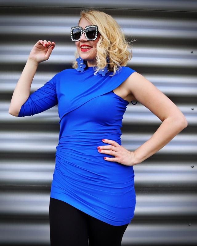 asymmetrical blue top