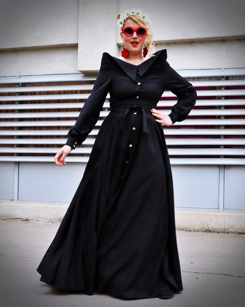 long pure linen dress