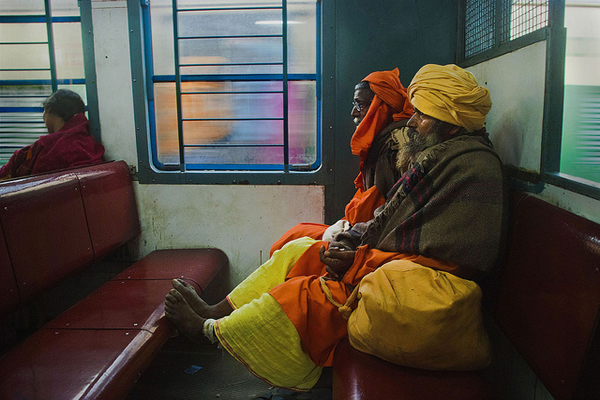 sadhu in train