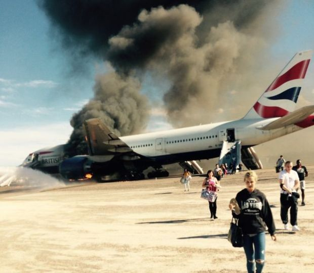 British Airways plane catches fire in Las Vegas