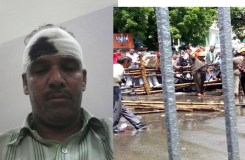 यूपी: प्रदर्शन कर रहे नेताओं पर लाठीचार्ज, कई पत्रकार भी घायल