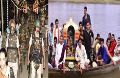 राधा-कृष्ण ने नर्मदा में किया नोका विहार