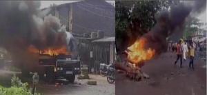 उग्र किसानों ने पुलिस की गाड़ियों को किया आग के हवाले