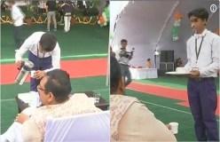 MP: शिक्षा मंत्री ने स्कूली बच्चों को कार्यक्रम में बनाया वेटर