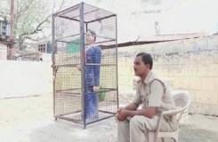 पिंजरे में कैद अंबेडकर की प्रतिमा, सुरक्षा में 24 घंटे तैनात 3 जवान