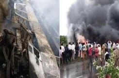 बिहार: देखते ही देखते बस में लगी आग, जिंदा जले 27 यात्री