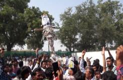 पंधाना : रुपाली के समर्थन में अरुण यादव का पुतला फूंका