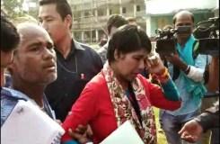 BJP उम्मीदवार भारती घोष को धक्का देकर जमीन पर गिराया, निकले आंसू