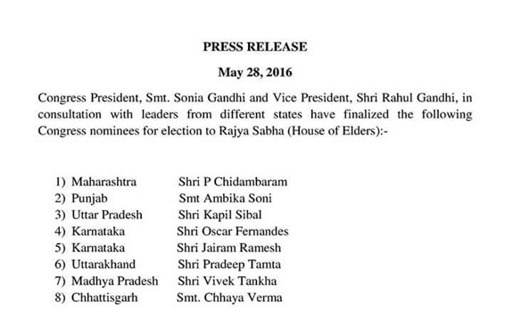 Congress Candidates List for Rajya Sabha
