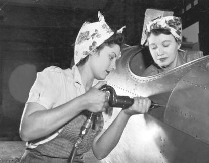 Women working as aircraft manufacturers