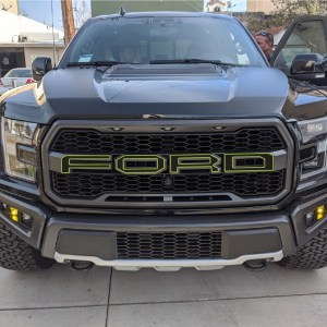 Outlined Front Grill Lettering Decals fits 2017-2020 Ford Raptor