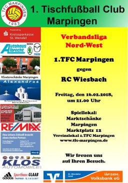Verbandsliga Nord-West: 1.TFC Marpingen - RC Wiesbach @ Vereinslokal Marktschänke | Marpingen | Saarland | Deutschland