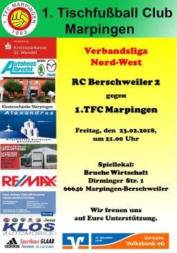 Verbandsliga Nord-West: RC Berschweiler 2 - 1.TFC Marpingen @ Bruche Wirtschaft | Lebach | Saarland | Deutschland