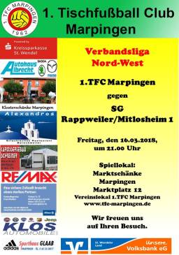 Verbandsliga Nord-West: 1.TFC Marpingen - SG Rappweiler/Mitlosheim @ Vereinslokal Marktschänke   Marpingen   Saarland   Deutschland