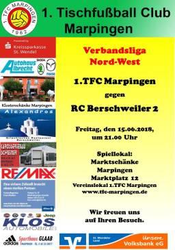 Verbandsliga Nord-West: 1.TFC Marpingen - RC Berschweiler 2 @ Vereinslokal Marktschänke | Marpingen | Saarland | Deutschland
